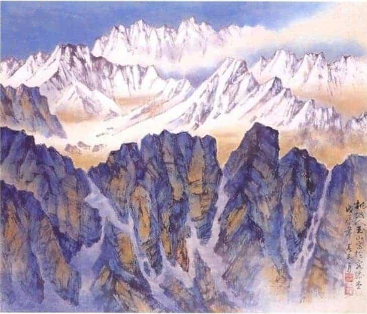 林玉山所繪的山脈圖 畫如其名