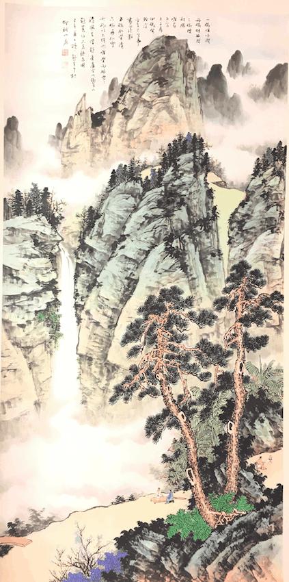 熊宜中 品茗聽泉圖 尺寸181 90cm