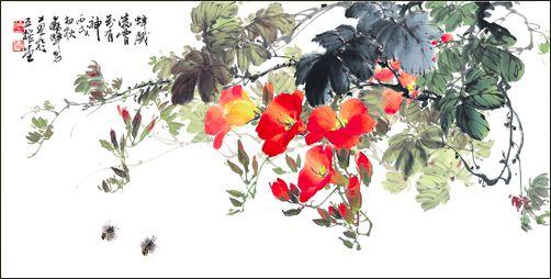 2 蘇峰男教授善畫花卉「蜂戲凌霄」展現了細膩觀察