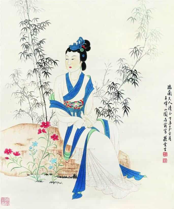 孫雲生 竹枝仕女 尺寸63×53